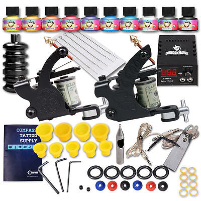 Tattoo Kit 2 Machine Gun Power Supply Set UK color ink Needles Grip D175OD-10