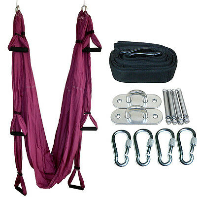 Pilates Yoga Swing Sling Hammock Aerial Inversion Tool Anti-Gravity Complete Set