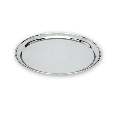 Round Tray / Platter   300mm   Stainless Steel  Heavy Duty  Rolled Edge