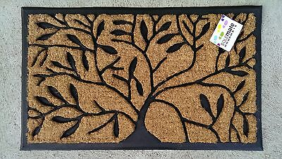 Tree Of Life Natural Coir, Recycled Rubber Backed Door Mat