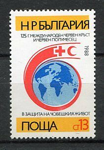 33659) BULGARIA 1988 MNH** Red Cross, Red Crescent 1v