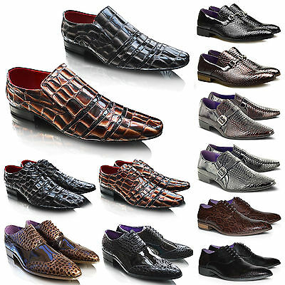 Mens New Leather Lined Crocs Patent Formal Wedding Party Dress Shoes Size UK