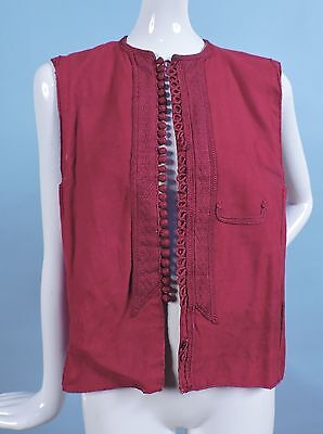Braid Trim 19Th C Ethnic Red Vest Top W Blue Chambray Lining