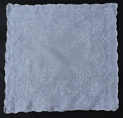 Never Used Antique Ayrshire Hand Embroidered Floral Handkerchief