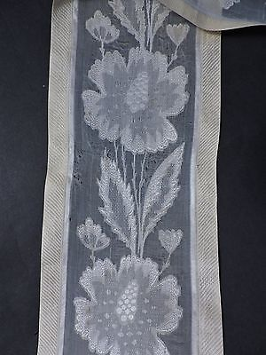 Victorian 19Th C Ornate Floral Voile Silk Ribbon