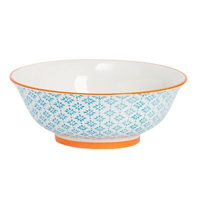 Porcelain Salad Bowl China Fruit Food Serving Tableware, Blue / Orange - 203mm
