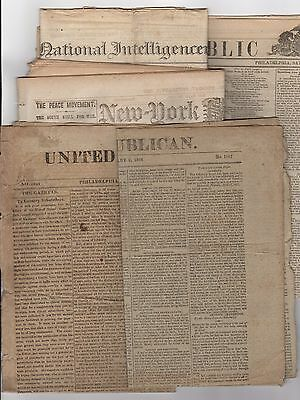 Lot of 5 different NEWSPAPERS - 1800'S