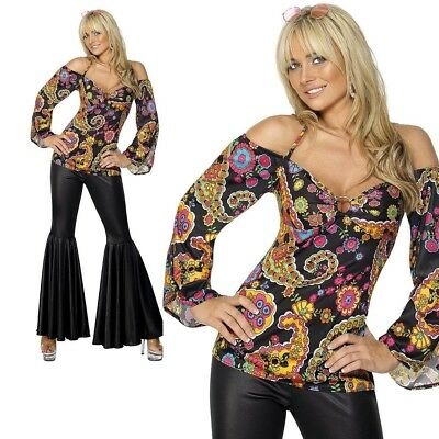 60s Psychedelic Hippie Flares & Top 70s Retro Adult Ladies Fancy Dress Outfit