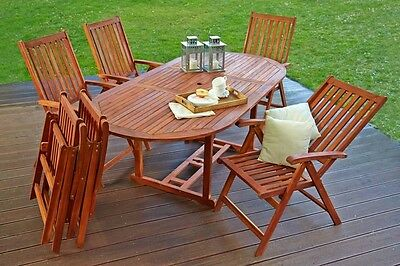 Garden Patio Outdoor Furniture Dining Set 6 Seater Chairs Table Acacia Wood