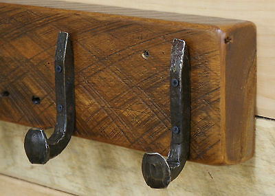 "48"" Reclaimed Vintage White Pine Coat Rack with 8 Railroad Spike Hooks"