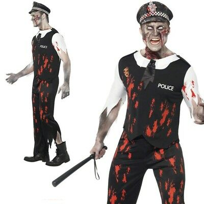 Adults Zombie Policeman Costume Mens Cop Halloween Fancy Dress Outfit