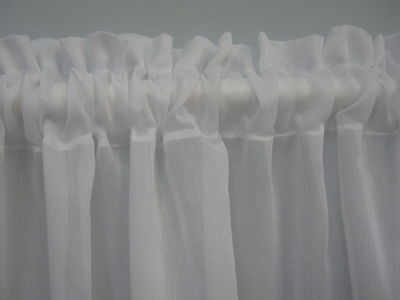 WHITE SHEER VALANCE CURTAIN- For Bathroom, Caravan, Kitchen, 2 mt Wide x 40 cm