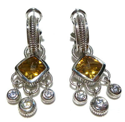 "1.5"" Judith Ripka Sterling Silver Citrine & Cz Flashy Dangle Cocktail Earrings"