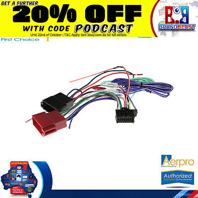 Aeropro Pioneer To Iso Connector Plug Harness 16 Pin For Avh-x8850bt Wiring Loom