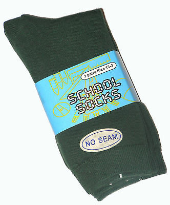 6 Pairs Boys Sz 13-3 Bottle Green Cotton School Socks