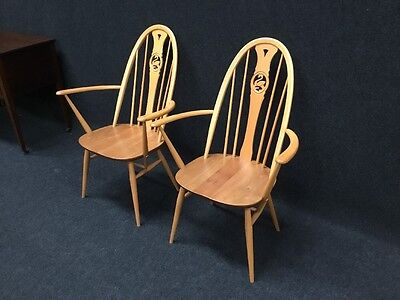 Vintage Pair Retro Ercol Swan Back Dining Chairs Kitchen Chair From Top Uk Maker