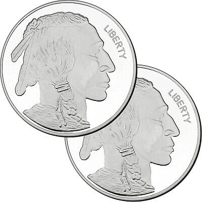 Buffalo 5oz .999 Silver Medallion by SilverTowne 2pc