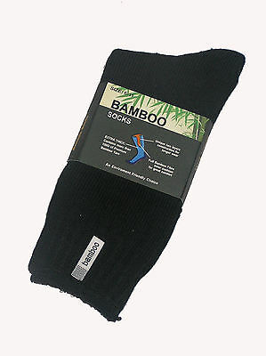 6 Prs Mens Sz 6-11 Black 92% Bamboo Cushion Foot Extra Thick Socks