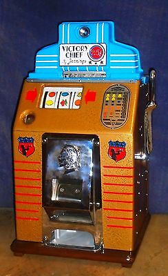 JENNINGS 25-cent VICTORY CHIEF antique slot machine, NRA discount !!