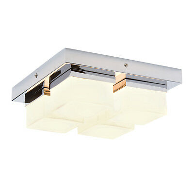 Saxby Endon - Square - 28W Decorative Chrome & Glass IP44 Bathroom Ceiling Light
