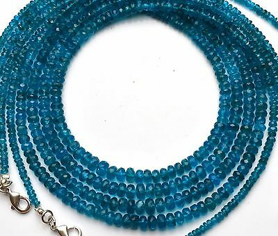 Natural Gem Super Quality Neon Apatite 3-6MM Faceted Rondelle Bead Necklace 18""