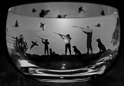 COUNTRY LIFE SHOOTING SCENE *GAME BIRD GIFT* Boxed CRYSTAL GLASS 12cm BOWL