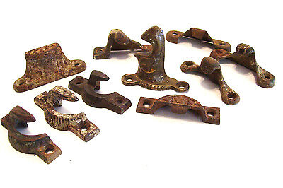 9 Antique Window Latch Receivers Cast Iron and Brass Victorian Hardware