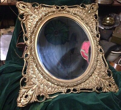 "Beautiful Antique Ornate Gold Wall Mirror Art Nouveau 28"" x 25"""