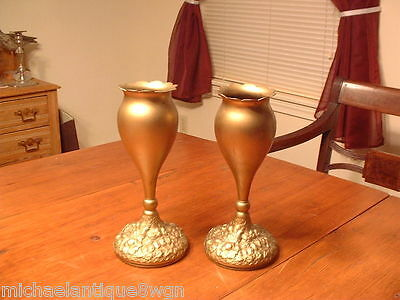 RARE Pair Simpson, Hall & Miller Wallingford CT. Repousse Gilded Table Vases