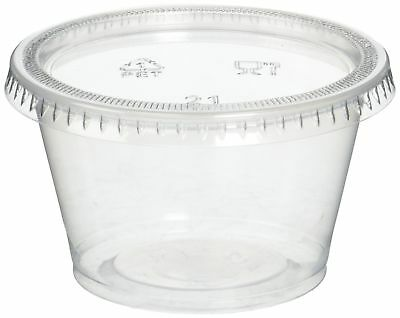 Reditainer Plastic Disposable Portion Cups Souffle Cup with Lids 4-Ounce ... New