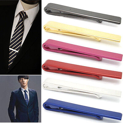 Men's Stainless Steel Silver Tone Simple Necktie Tie Bar Clasp Clip Clamp Pins