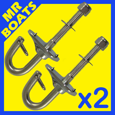 2 x SKI HOOKS STAINLESS STEEL water ski wake board boat transom tow ✱FREE POST✱