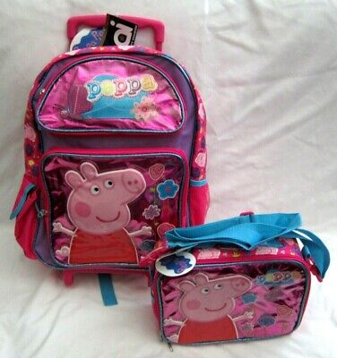 """Peppa the Pig 16"""" Flowers Rolling Backpack & Peppa Pig Matching Lunch Bag-New!"""