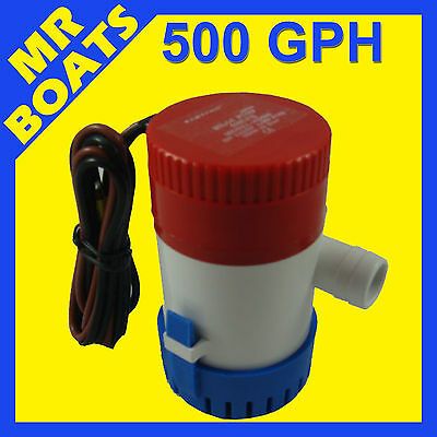 500 GPH SUBMERSIBLE BOAT BILGE WATER PUMP 12V Outlet 3/4' or 20mm MARINE 500GPH