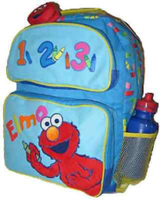 "Elmo 1 2 3 with Crayons Large Blue 16"" Backpack with compartments Sesame-New!!"