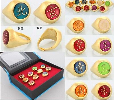 DZ787 Elegant Cosplay Naruto Akatsuki 10 Gold Rings Sets And Necklace With Box #