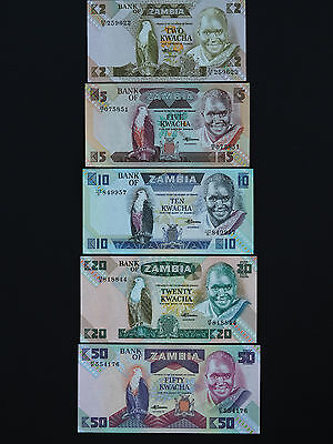 ZAMBIA  BANKNOTES   -   BRILLIANT SET OF FIVE 1980's NOTES   * LOVELY UNC *