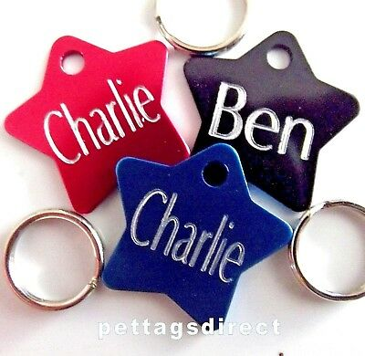 (Pk 3) - £6.99 Coloured Pet DOG/CAT Engraved ID Tags Deep Engraving S/M/L Sizes
