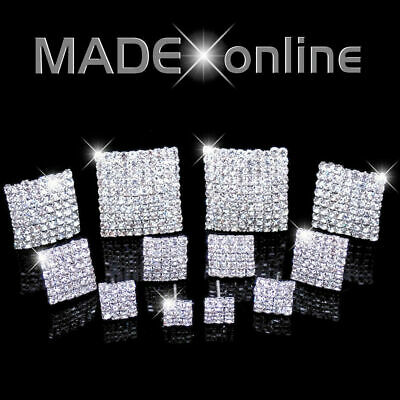 Square Stud Earrings, Small Diamante Stones, sparkle crystal bling