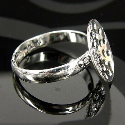 10 20 50 Silver Plated Best QUALITY Adjustable Ring Blanks Sieve 18 mm Base GU18