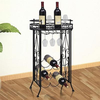 Metal Wine Home Bar Storage Rack Floor Stand Table with Hooks - Holds 9 Bottles