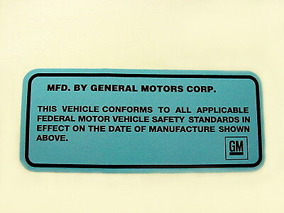 1968-76 GM Door Jamb ID Vin Number Decal Sticker Buick GS Olds Chevy Caddy GTO