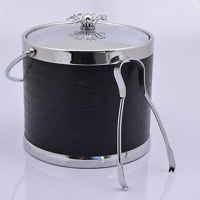 Vintage Retro 60's Style Black Faux Leather Ice Bucket FLOWER by Colony