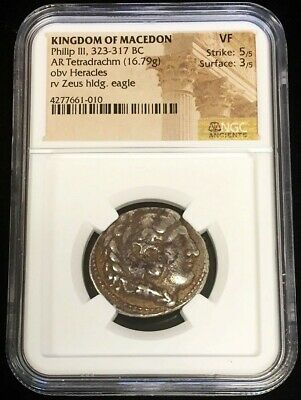 323 - 317 Bc Silver Macedon Tetradrachm Philip Iii Coin Ngc Very Fine