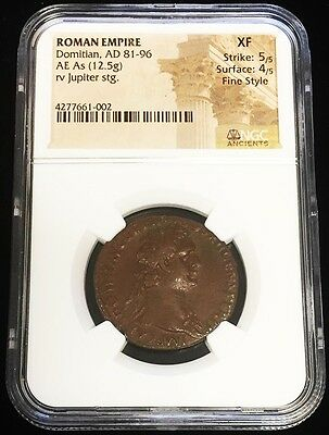 81-96 Ad Roman Empire Ae As Domitian / Jupiter Coin Ngc Extremely Fine