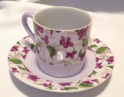 Demitasse Cup and Saucer Purple Violets Napco Japan C-6484