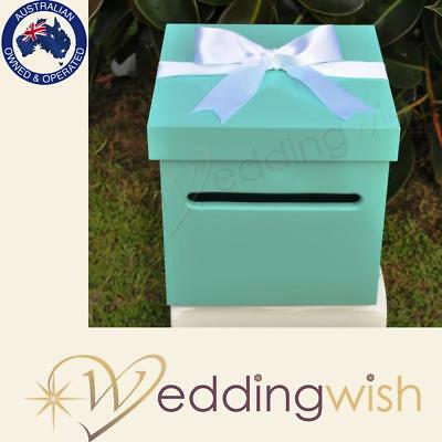 Aqua Blue Wedding Wishing Well - wooden timber box - Engagement 21st card box