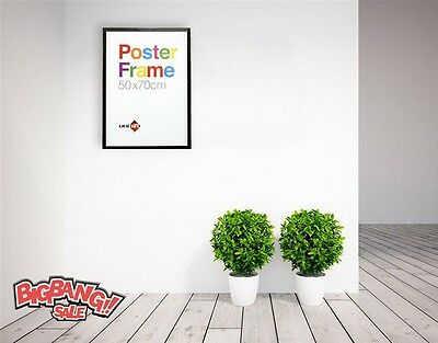 New Large 50 X 70 CM Wooden Poster Picture Photo Certificate White / Black Frame