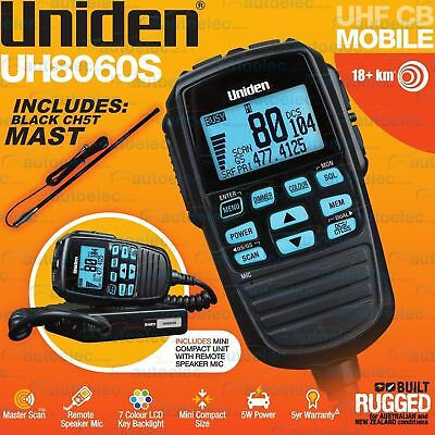 Uniden Uh8060S Uhf Cb Radio + Ch5T Antenna Mobile Remote Speaker Microphone