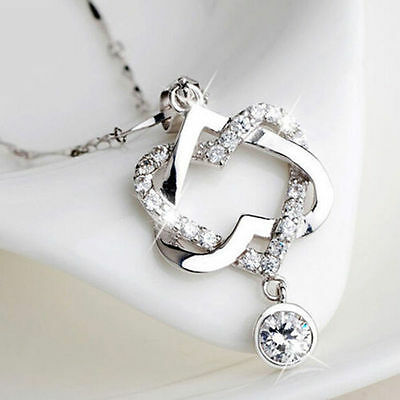 HOT Silver Plated Fashion Women Double Heart Pendant Necklace Chain Jewelry NEW